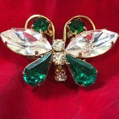 Vintage Emerald Green and White Faceted Rhinestone Butterfly Scatter Pin ∙ Butterfly Pin/Brooch ∙  Butterfly Jewelry ∙ Insect Jewelry
