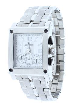Le Chateau 5420-MSS-WHT Men's Square Stainless Steel Chronograph Watch GMT