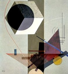 El Lissitzky 'PROUN 99' + #Vasily_Kandinsky 'Black Relation' 1924, 2013  Seems like a lot of El Lissitzky's work uses intricate geometric subjects as in this piece. His use of color and layers create depth.