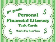 NEW grade Personal Financial Literacy Task Cards (ali Math Stations, Math Centers, 5th Grade Math, Fourth Grade, Classroom Economy, Classroom Management, Math Task Cards, Math Work, Classroom Activities