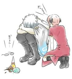 Gintoki, Kagura & Shinpachi  - Gin san drops his treat :(