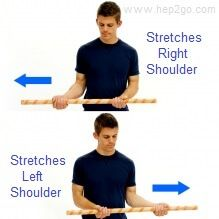 Assisted shoulder external rotation exercise following a rotator cuff tear/tendonitis. Approved use www.hep2go.com