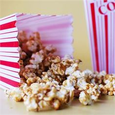 Caramel Popcorn- Only use half the butter & keep popcorn in oven until ur ready to drizzle it with the caramel sauce