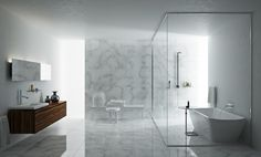 shower stall w freestanding bathtub in minimalist marble bathroom