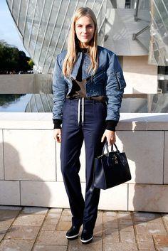Gaia Repossi en bomber jacket