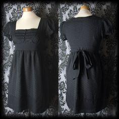 Gothic Black Buttoned Bib Detail PARAMOUR Sash Tea Dress 8 10 Victorian Vintage - £36.00