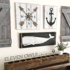 This is a SET OF THREE nautical pieces - an anchor, a compass, and a whale, each with jute rope accents for a truly nautical effect! Nautical art is perfect for a nursery, bedroom, bathroom, beach house or anywhere a little fun is needed! And, you can choose your own color scheme! The anchor is on 14 x 9.5 wood canvas, the compass is on a 14 x 14 wood canvas and the whale is on a 24 x 8.5 wood canvas. All are ready to hang with hanging wire already attached. Please Note: The rustic features…