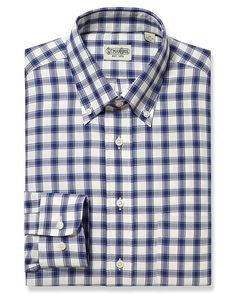 Crafted from pure cotton, this brown and grey gingham sport shirt is made in the USA with our classic button down collar and adjustable cuff.