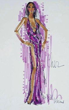 Bob Mackie - Cher, purple sequin snakeskin pattern dress with high leg slit Fashion Art, Girl Fashion, Fashion Outfits, Fashion Design, Paper Fashion, Bob Mackie, Dress Sketches, Fashion Sketches, Illustration Mode