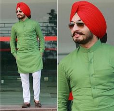Sardar Mens Indian Wear, Indian Groom Wear, Indian Men Fashion, Mens Fashion Suits, Mens Suits, Men's Fashion, Fashion Pants, Punjabi Kurta Pajama Men, Kurta Men
