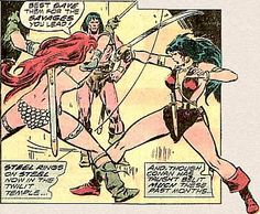Red Sonja vs Belit. Art by John Buscema. #RedSonja #Belit #JohnBuscema #Conan