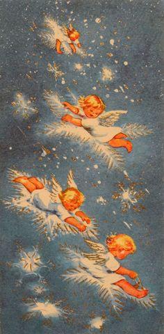 Christmas angels; 1950s Brownie Christmas card