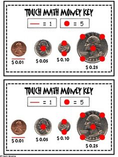 Touch Math Money Reference Strip for Students