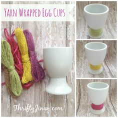 Easy DIY Yarn Wrapped Easter Egg Cup Craft - Thrifty Jinxy