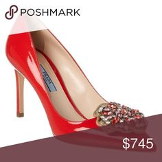Prada Patent Pump Prada Design Details: Steel Finish Hardware Jewel Embellishment Color/Material: Red Patent Leather Made In Italy Lightly Padded Leather Insole Smooth Leather Sole 3.25in Heel Size 39 100% Genuine.  Imported Prada Shoes Heels