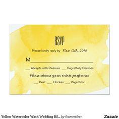 Yellow Watercolor Wash Wedding RSVP Card