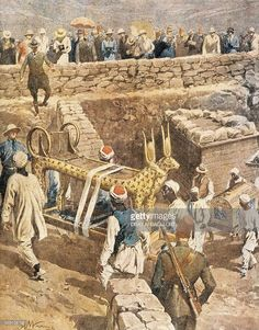 Illustrazione stock : The discovery of the tomb of Tutankhamen by Achille Beltrame (1871-1945), illustration, 1923