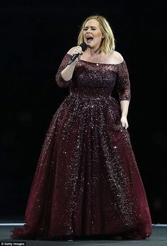 Hot in the city: Adele wows Perth crowd on first concert stop of Australian tour while 'boiling' in heat Plus Size Prom, Plus Size Party Dresses, Plus Size Gowns, Plus Size Outfits, Plus Size Evening Gown, Evening Gowns, Vestidos Adele, Bridesmaid Dresses, Prom Dresses