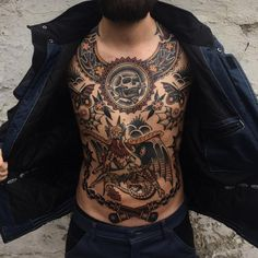 Trendy ideas for tattoo old school design inspiration chest piece Tattoos 3d, Torso Tattoos, Bike Tattoos, Stomach Tattoos, Trendy Tattoos, Black Tattoos, Sleeve Tattoos, Tattoos For Guys, Tatoos