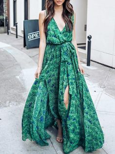 d725882803 Green Bohemia Sleeveless Printed Maxi Dress – ebuytide Cute Dresses