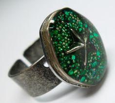 Green Star Candy Handmade Resin Ring  Watch Case by wiggelhevin, $24.00