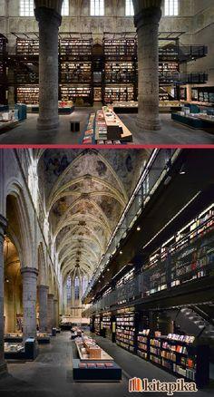 Belki ülkemizde böyle kitapçılar olsa bizim de okuma iştahımız açılabilir!    Hollanda'da eski bir kilisenin kitapçıya dönüştürülmesinden ortaya çıkan şaheser, Selexyz Bookstore (Boekhandel Selexyz). Beğendiniz mi?    http://www.kitapika.com/kitap.html