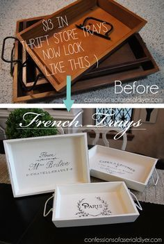 Thrift Store Trays transforemd with French Graphics!