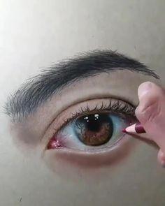 Realistic Pencil Drawings, Art Drawings Sketches Simple, Pencil Art Drawings, Eye Drawings, Realistic Eye, Cool Sketches, Portrait Au Crayon, Pencil Portrait, 3d Art Drawing