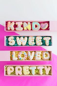 Pretty alphabet sugar cookies.....different words per order....