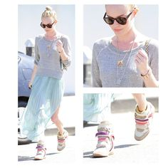 Loving Kate Bosworth's casual-chic look - complete with Isabel Marant high-top sneakers