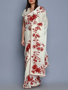 White Crepe Floral Embroidered Saree on Jaypore.com