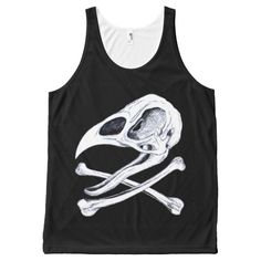 Rooster Skull and Crossbones All-Over Print Tank Top Tank Tops
