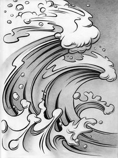 """Wave #101"" #SurfArt by Chris Lundy. This giclee on paper was featured in Longboard Magazine's ""The Art of Surfing"" issue in July 1997 and is now available from Chris Lundy's art portfolio collection."