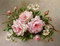 Christie Repasy La Belle Roses Canvas Giclee, featuring a pink roses with an alder flower on a twig, this canvas print is an original painting by Christie Repasy. Vintage Rosen, Vintage Diy, Vintage Images, Vintage Ideas, Rose Embroidery, Silk Ribbon Embroidery, Embroidery Books, Vintage Embroidery, Embroidery Kits