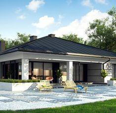 Z378 to wyjątkowy dom z kategorii projekty domów z większą liczbą pokoi House Outside Design, House Front Design, Modern House Design, Home Building Design, Home Design Plans, Building A House, House Plans Mansion, Dream House Plans, 4 Bedroom House Designs