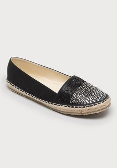 Ibiza-chic espadrilles featuring classic braided-rope detail and crystal accenting that creates a glistening beaded-water look. Effortless slip-on style.