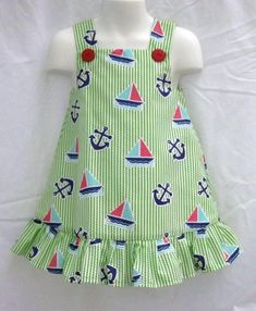 Items similar to Anchors and Sailboats Lime Green Seersucker Callie Dress with Ruffle on Etsy Girls Frock Design, Kids Frocks Design, Baby Frocks Designs, Baby Dress Design, Kids Dress Wear, Dresses Kids Girl, Little Girl Outfits, Kids Outfits, Baby Girl Dress Patterns