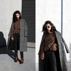 Get this look: http://lb.nu/look/8960944 More looks by CLAUDIA Holynights: http://lb.nu/holynights Items in this look: Metisu Plaid Coat, Vi Pshop Sweater, Prof Boots #casual #chic #street