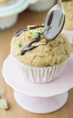 Healthy Banana Pistachio Muffins! Whole wheat, refined sugar-free and butter-free!