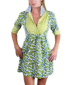 Look at this #zulilyfind! Green Leaf Shirt Dress #zulilyfinds