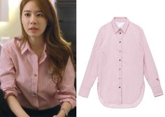 "Yoo In-Na 유인나 in ""My Secret Hotel"" Episode 1.  Customellow Gentee Striped long Shirt CFSS41201RD #MySecretHotel 마이 시크릿 호텔 #YooInNa"