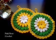 \ PINK ROSE CROCHET /: Pega Panelas BR - Crochet Daisy Potholders