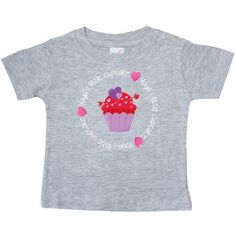Inktastic Yaya's Cupcake Baby T-Shirt Yaya Grandparent Heart Candy Valentines Day Red Pink T-shirt Infant Tees Shower Gift Clothing Apparel, Infant Girl's, Size: 6 Months, Grey