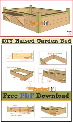 DIY raised garden bed with bench. Free PDF download, plans include cutting list and shopping list.