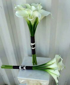 Long stem option Simple Calla lily Wedding bouquet white plum real by BrideinBloomWeddings I like the length of the stems. Small Bridal Bouquets, Lily Bouquet Wedding, Calla Lily Bouquet, Calla Lillies, White Wedding Bouquets, Bridal Flowers, Bridesmaid Bouquet, Bridesmaids, Marie