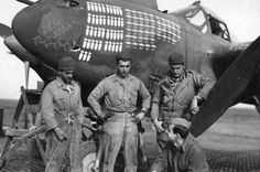 "Fighter of the P-38 ""Lightning"" 27 Squadron US Air Force in Tunis"