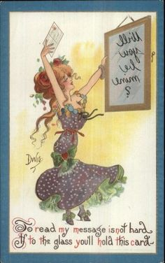 DWIG Reverse Mirror Message Beautiful Woman c1910