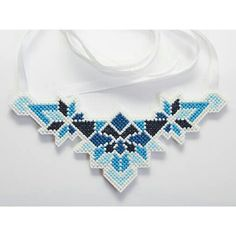 Cross stitch handmade necklace