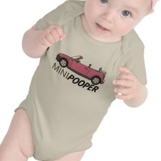 """Cute and funny organic baby bodysuit with """"Mini Pooper"""" print."""