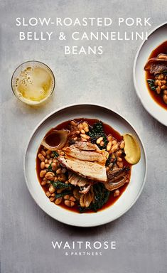 Tender slow-roasted pork belly with crispy skin and garlicky cannellini beans. Serve for friends with a crisp, fruity cider. Tap to see the full Waitrose & Partners recipe. Food Menu, A Food, Good Food, Food And Drink, Easy Healthy Recipes, Easy Meals, Waitrose Food, Bean Recipes, Lamb Recipes